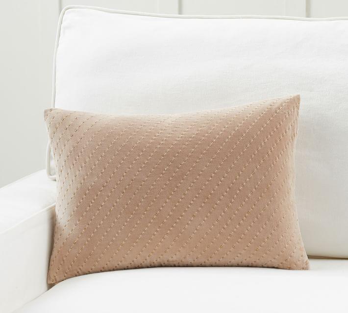 Ceres Velvet Pickstitch Lumbar Pillow Cover Pottery Barn