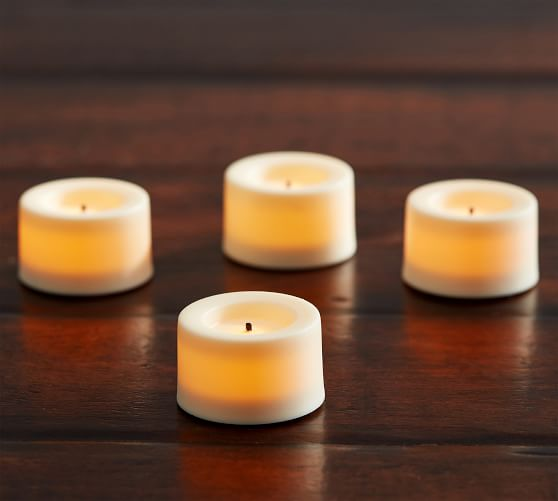 Flameless Wax Dipped Tealights Set Of 4 Pottery Barn