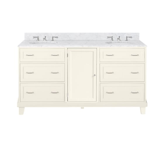 Custom Classic 65 5 Double Sink Vanity With Drawers Pottery Barn