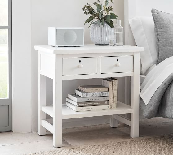 Living Room Hallway Night Stand Bedside Table Side Table for Bedroom Office Mirrored End Table with 2 Drawers Entryway
