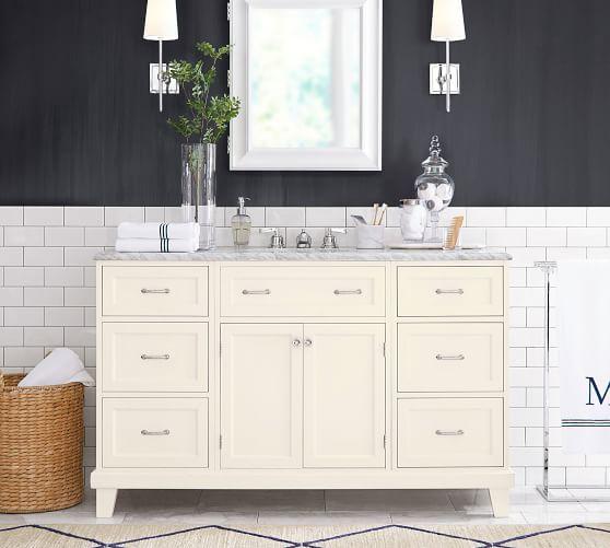 Custom Classic 57 5 Single Sink Vanity With Drawers Pottery Barn