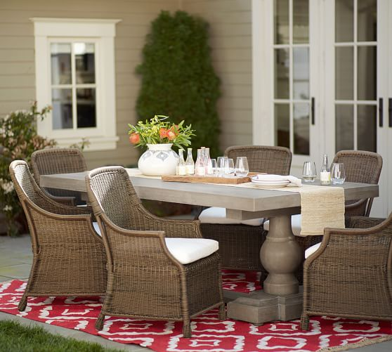 Saybrook All Weather Wicker Dining Armchair Natural Pottery Barn