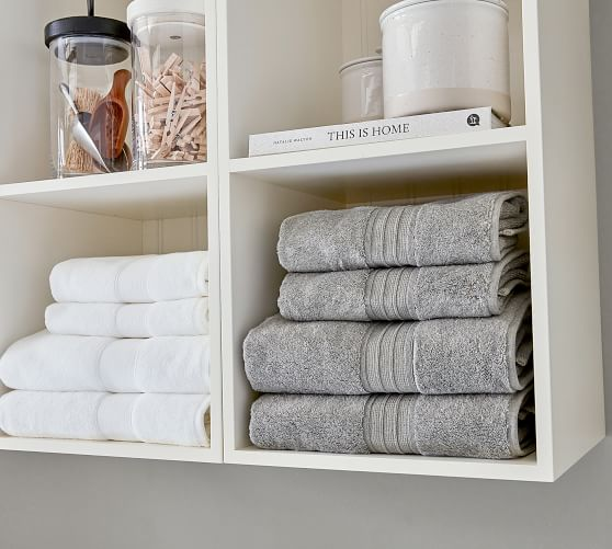 Aubrey Deluxe Laundry Organization Set With Open Cabinets Pottery Barn