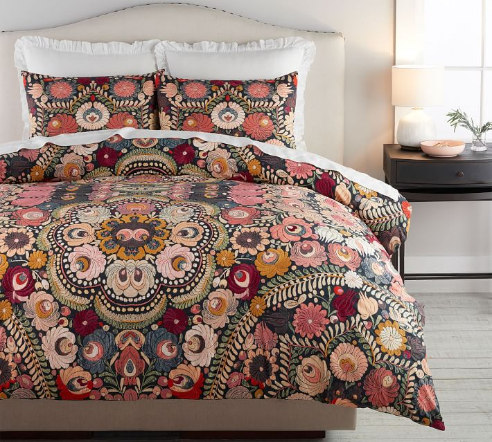 Helena Embroidered Floral Percale Patterned Duvet Cover Sham Pottery Barn