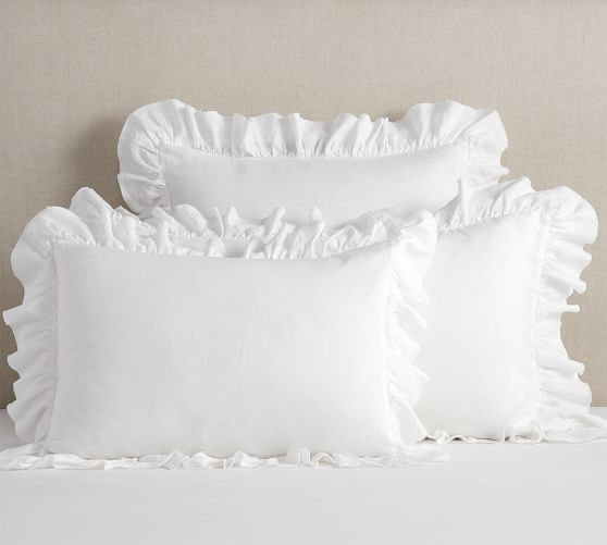 Ruffled 12x24 Linen Pillowslip and Insert---Oatmeal and Flax Washed Linen