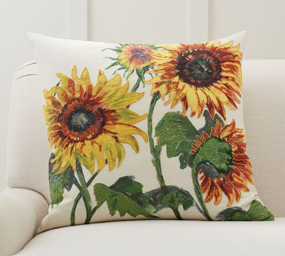 Painted Sunflower Pillow Cover Pottery Barn