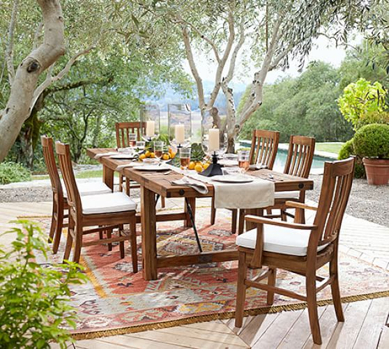 Perfect Pair Benchwright Outdoor Extending Dining Table Chair Pottery Barn