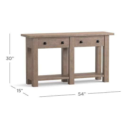 Benchwright 54 Console Table Pottery Barn - Solid Mahogany Wood Entry Wall Console Sofa Table
