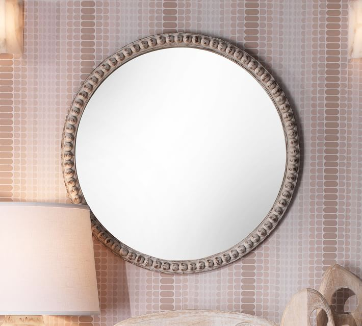 Audrey Round Beaded Wood Frame Wall, Oval Silver Beaded Mirror