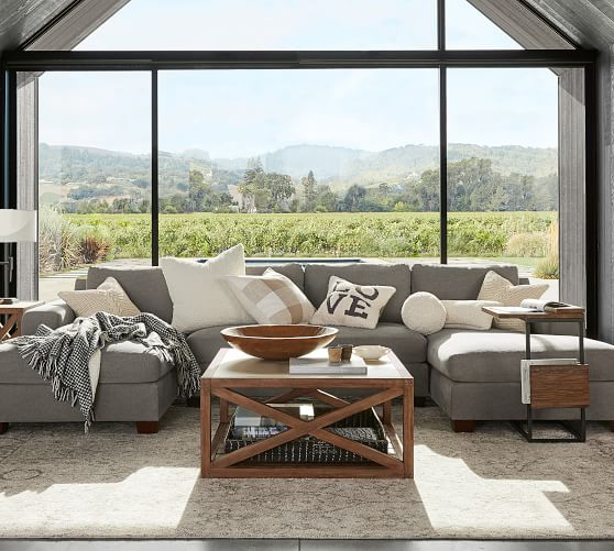 Big Sur Square Arm Upholstered U Shaped Double Chaise Sectional Pottery Barn