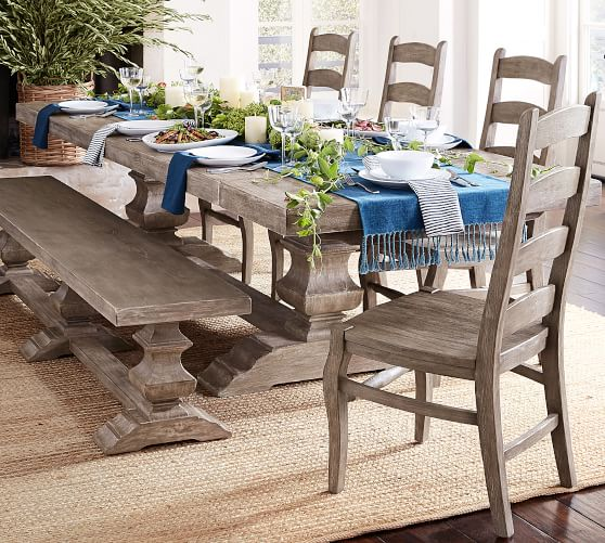 Perfect Pair Banks Extending Dining Table With Banks Bench Wynn Chair Pottery Barn