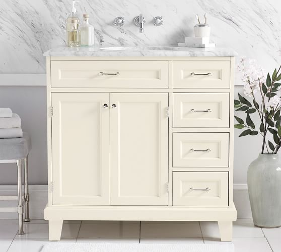 Custom Classic 36 Asymmetric Single Sink Vanity For Wall Mounted Faucet Pottery Barn