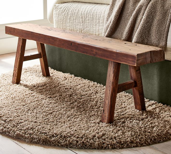 Rustic Reclaimed Wood Bench Pottery Barn