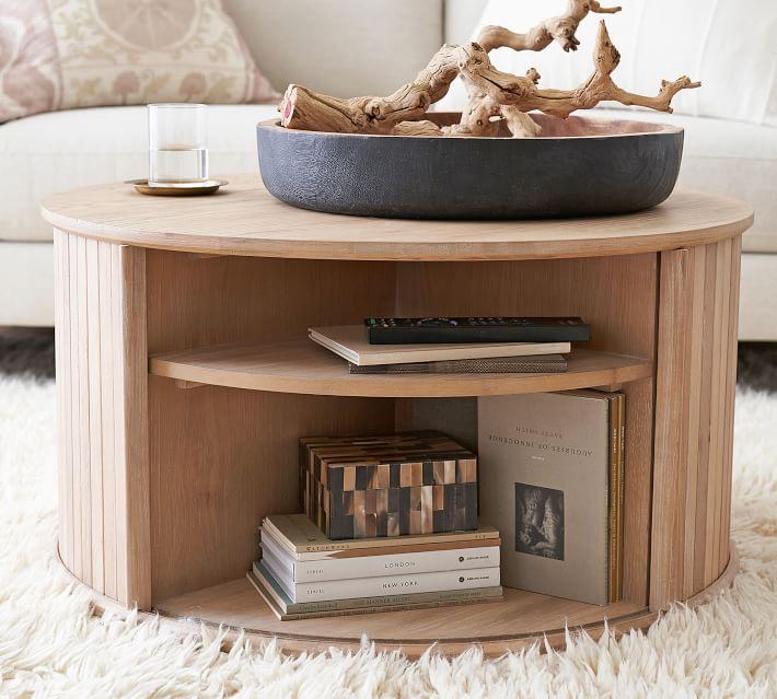 Arlo 31 Tambour Round Storage Coffee Table Pottery Barn