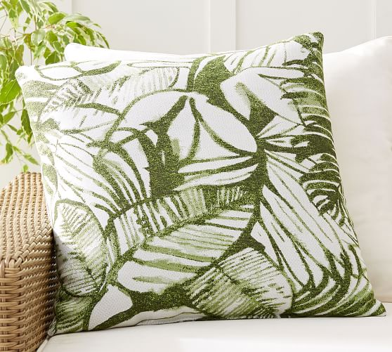 Sunbrella All Over Palm Leaf Indoor Outdoor Pillow Pottery Barn