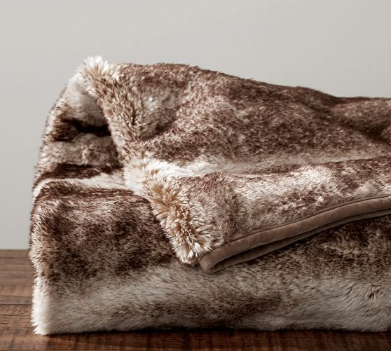 50 X 60 Light Brown New Pottery Barn Faux Fur Alpaca Throw Taupe Sold Out