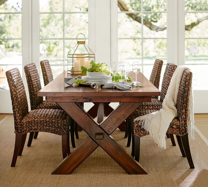 Perfect Pair Toscana Extending Dining Table Seagrass Chair Pottery Barn