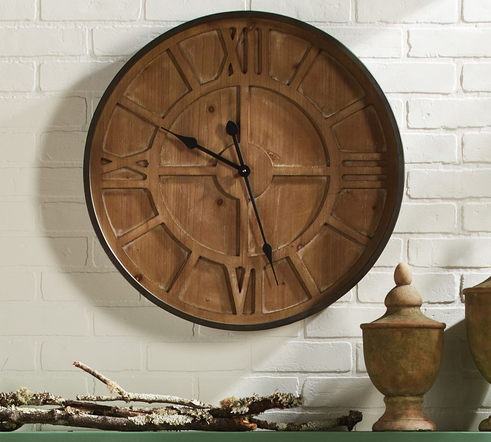 Coty Iron and Glass Wall Clock   Pottery Barn