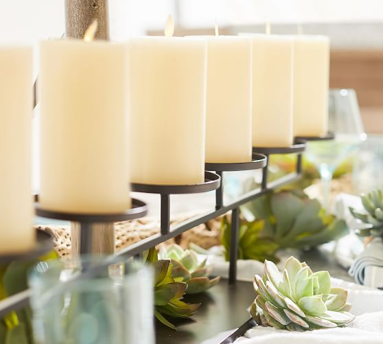 Row Centerpiece Pillar Candle Holders Pottery Barn