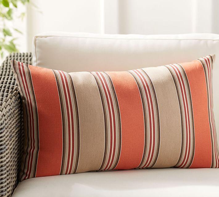 Sunbrella Passage Striped Indoor Outdoor Lumbar Pillow Pottery Barn