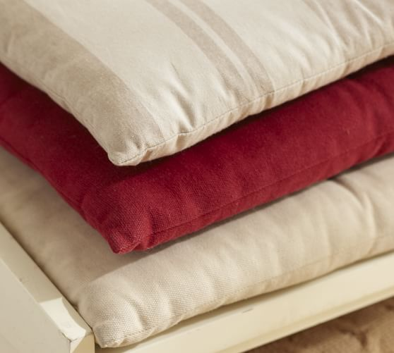 seat cushion, COTTON CANVAS Tufted bench cushion 42 x 12 natural color