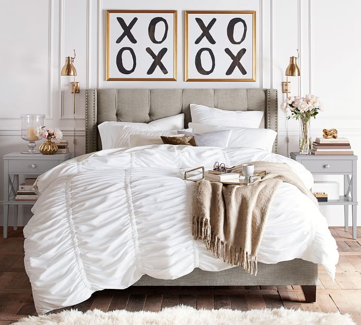 Harper Tufted Upholstered Low Bed Pottery Barn