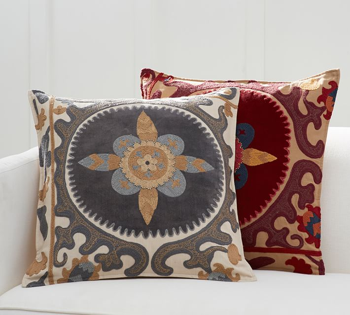 Suzani Appliqué Embroidered Decorative Pillow Cover Pottery Barn