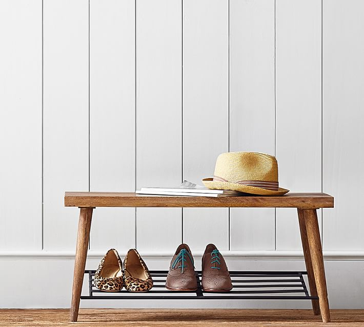 Lucy Mango Wood Shoe Rack with Bench | Pottery Barn