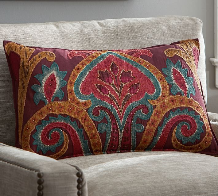 Houston Ikat Lumbar Decorative Pillow Cover Pottery Barn