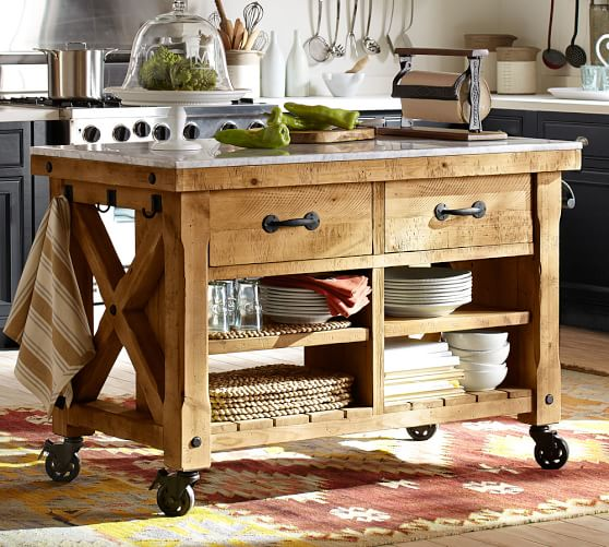Hamilton Reclaimed Wood Marble Top Kitchen Island Pottery Barn