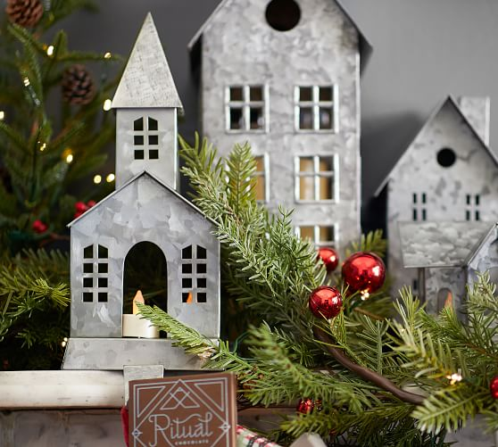 Details about  /NEW Pottery Barn Galvanized Stocking Hanger Nostalgic Village Tall Steeple