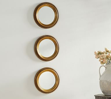 Round Gold Gilt Wall Mirrors Set Of 3, How To Hang 3 Round Mirrors