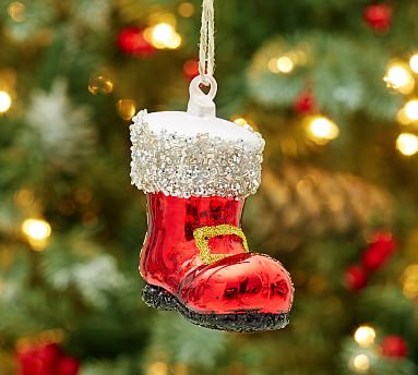 Holiday Ornament Christmas *POTTERY BARN* German Glitter RED Letter M