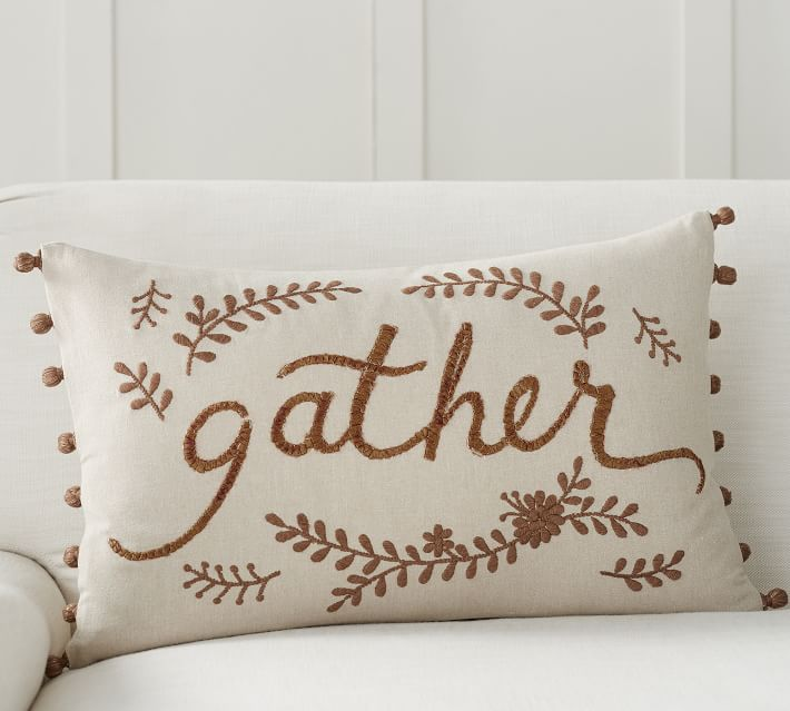 Gather Embroidered Lumbar Pillow Cover Pottery Barn