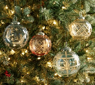 Etched Glass Ball Christmas Ornaments