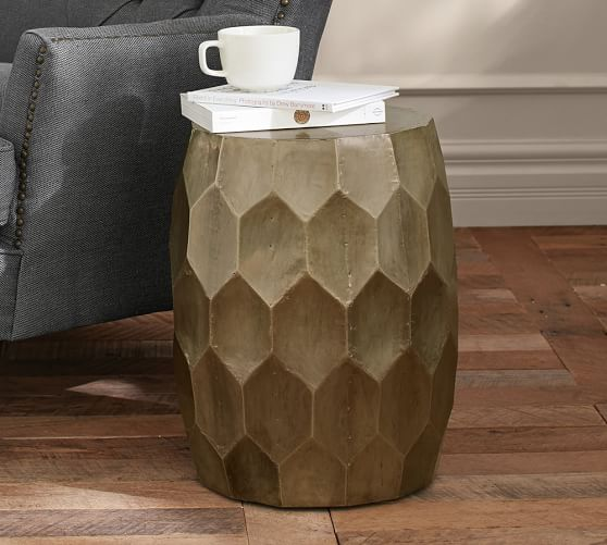 Metal Clad Accent Stool Side Table Pottery Barn