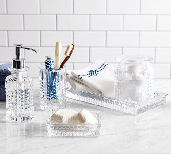 Pressed Glass Bathroom Accessories Pottery Barn