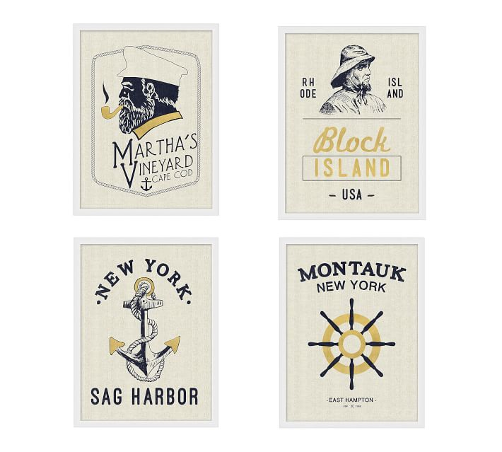 Gold Nautical Series Framed Prints