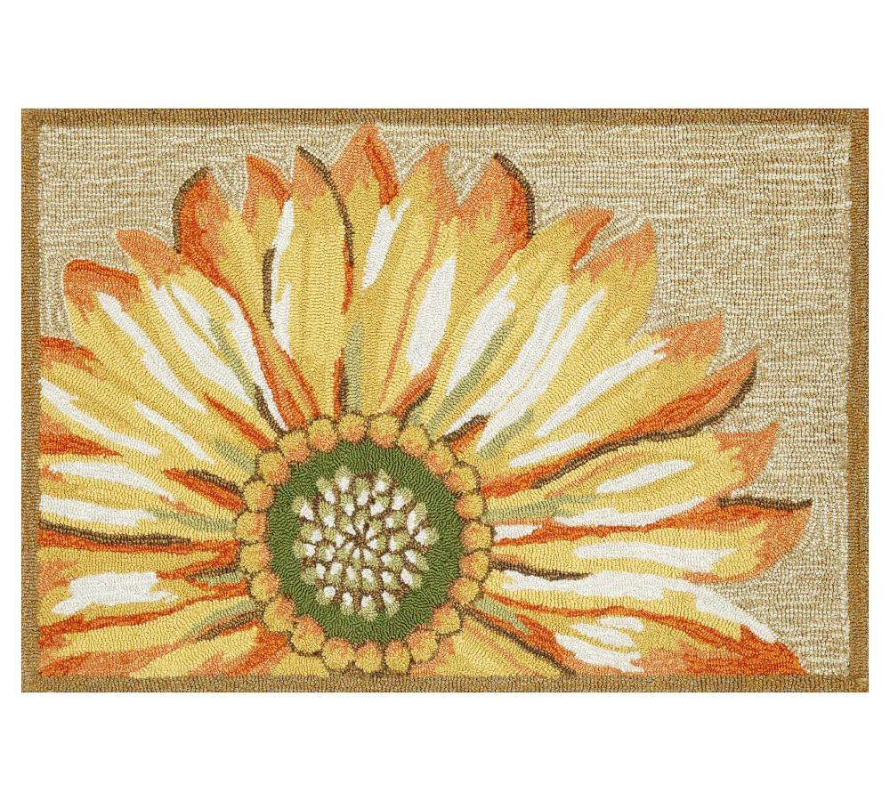 Painterly Sunflower Hand Tufted Indoor Outdoor Rug Pottery Barn