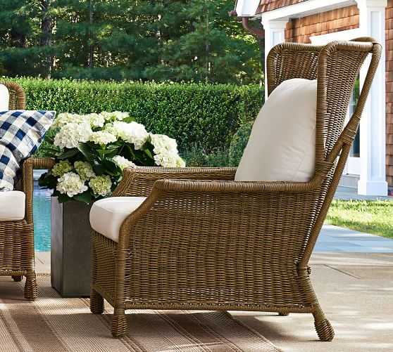 Saybrook All Weather Wicker Wingback, All Weather Wicker Outdoor Furniture