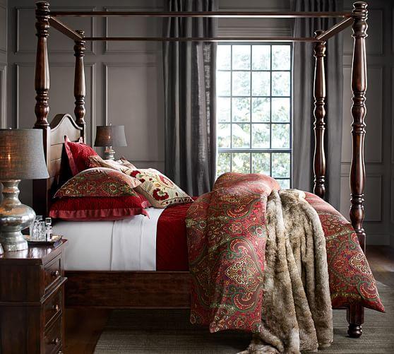 "2 POTTERY BARN Mira Paisley Drape Curtain 50/"" x 90 /"" REDS Linen//Cotton HEMMED"