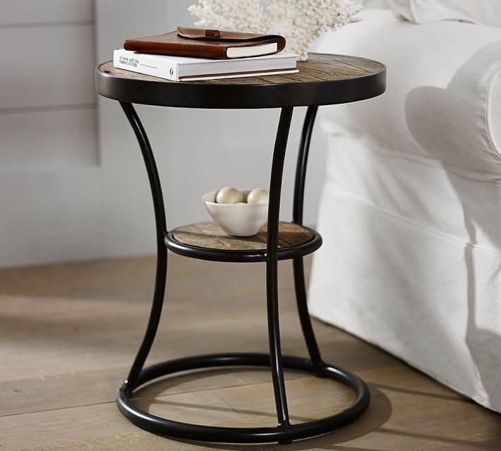 Bartlett 20 Round Reclaimed Wood End Table Pottery Barn