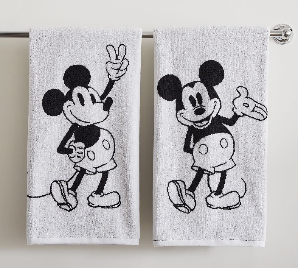 Disney Mickey Mouse Organic Reversible Towels Pottery Barn