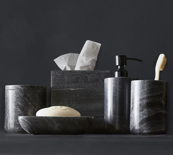 Black Handcrafted Marble Bathroom Accessories Pottery Barn