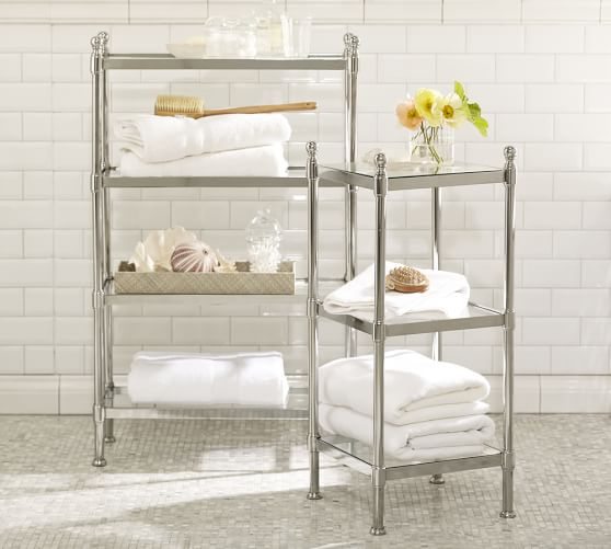Brushed Nickel Bathroom Etagere