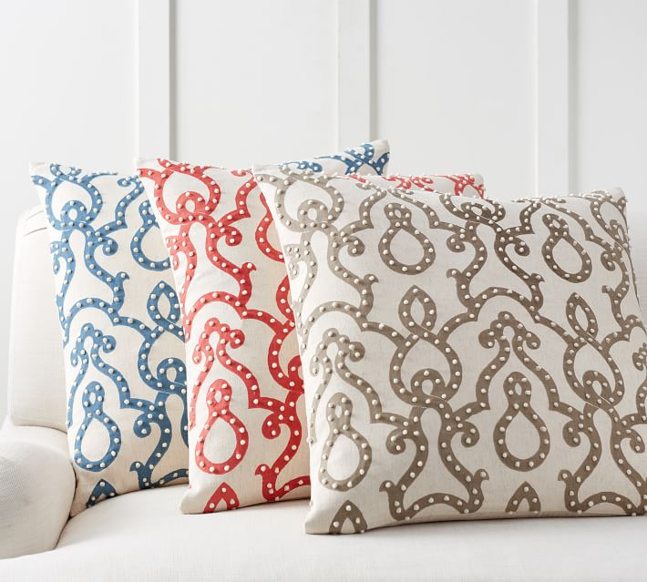 French Knot Trellis Decorative Pillow Cover Pottery Barn