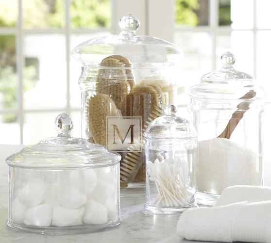 Classic Glass Bathroom Canisters Pottery Barn
