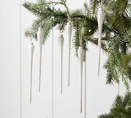 Mercury Glass Icicle Ornament Set Of 6 Pottery Barn