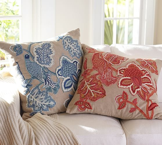 Lilian Palampore Embroidered Decorative Pillow Covers Pottery Barn