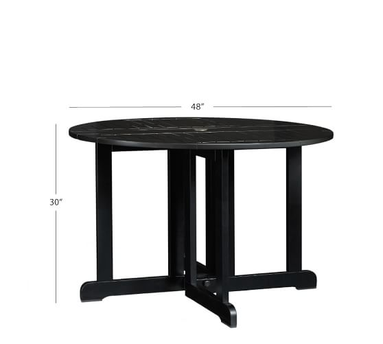 Hampstead Painted Round Drop Leaf 48 Dining Table Black Pottery Barn